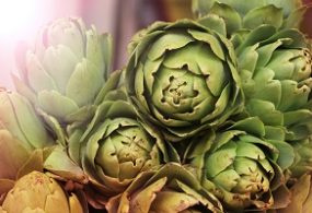 Close up view of a display of fresh artichokes for sale on a stall at a farmers market with sun flare in the upper left corner